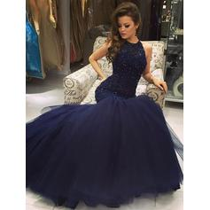 Elegant Halter Sleeveless Trumpet/Mermaid Tulle Prom Dresses