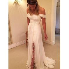Off-The-Shoulder A-Line/Princess Wedding Dresses Chiffon Ruffle Lace Split Front Sleeveless Sweep Train