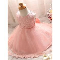Flattering Scoop Neck Ball Gown Flower Girl Dresses Knee-length Tulle/Lace Sleeveless