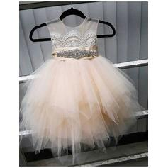 Gorgeous Knee-length A-Line/Princess Flower Girl Dresses Scoop Neck Tulle Sleeveless