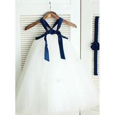Correas de hombro Corte A/Princesa Vestidos para niña de arras Tul Fajas Sin mangas Hasta el tobillo (010211890)