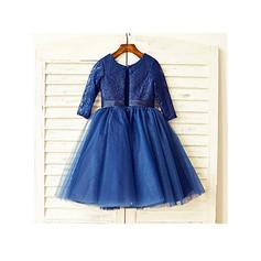 Scoop Neck A-Line/Princess Flower Girl Dresses Tulle/Lace Bow(s) Long Sleeves Tea-length (010211887)