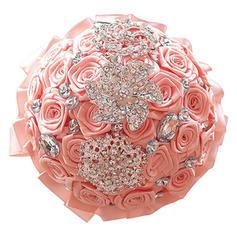 Fri Form Satin Brude Buketter/Brudepike Buketter/Flower Gaver (som selges i et enkelt stykke) -
