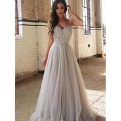 A-Line/Princess Sweetheart Tulle Sleeveless Sweep Train Beading Evening Dresses