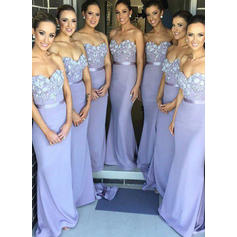 Lace Jersey Beautiful Trumpet/Mermaid Sweetheart Bridesmaid Dresses
