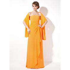 Sheath/Column Chiffon Bridesmaid Dresses Cascading Ruffles Strapless Sleeveless Floor-Length (007001016)