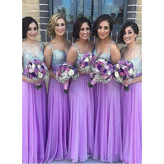 A-Line/Princess Chiffon Sequined Bridesmaid Dresses Sweetheart Sleeveless Floor-Length