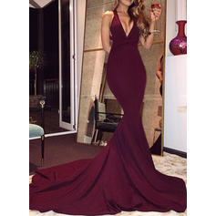 Stretch Crepe Evening Dresses Trumpet/Mermaid V-neck Sleeveless