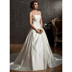 Modern Chapel Train Sweetheart Ball-Gown Satin Wedding Dresses