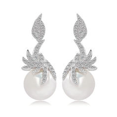 Earrings Pearl/Zircon/Platinum Plated Pierced Ladies' Unique Wedding & Party Jewelry