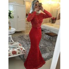 Modern Lace Evening Dresses Trumpet/Mermaid Sweep Train Scoop Neck Long Sleeves