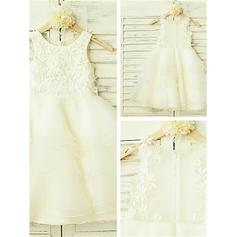 A-Line/Princess Scoop Neck Tea-length With Appliques Organza/Tulle Flower Girl Dresses
