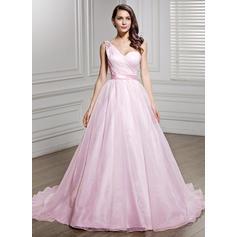 Sans manches Standard Grande taille Une épaule avec Organza Robes de mariée (002056447)