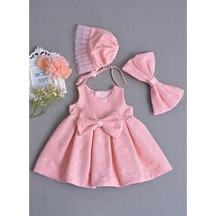 Satiné Col rond À ruban(s) Robes de baptême bébé fille avec Sans manches (2001218027)