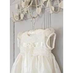 Satiné Col rond Dentelle Robes de baptême bébé fille avec Manches courtes (2001216816)