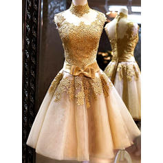 A-Line/Princess Tulle Prom Dresses Bow(s) High Neck Sleeveless Knee-Length (018148324)
