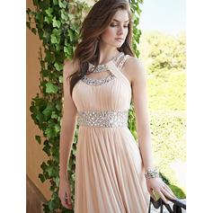 A-Line/Princess Scoop Neck Chiffon Sleeveless Floor-Length Ruffle Beading Evening Dresses