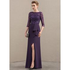 Vestidos princesa/ Formato A Decote redondo Longos Tecido de seda Renda Vestido para a mãe da noiva com Frente aberta Babados em cascata (008152126)