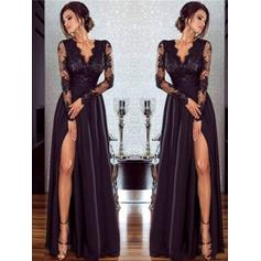 Flattering Chiffon Prom Dresses A-Line/Princess Floor-Length V-neck Long Sleeves