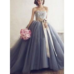 Luxurious Tulle Prom Dresses Ball-Gown Floor-Length Sweetheart Sleeveless