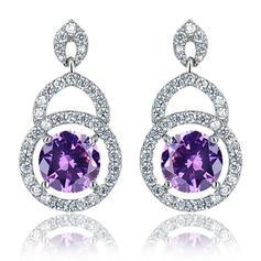 Earrings Zircon/Platinum Plated Pierced Ladies' Elegant Wedding & Party Jewelry
