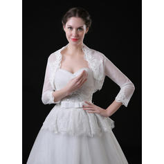 Wrap Wedding Lace Tulle 3/4-Length Sleeve With Appliques Lace Wraps