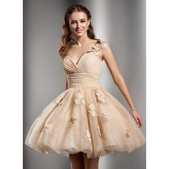 A-Line/Princess Short/Mini Homecoming Dresses One-Shoulder Tulle Sleeveless