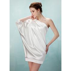 Sheath/Column One-Shoulder Short/Mini Charmeuse Cocktail Dresses With Ruffle Beading (016021260)