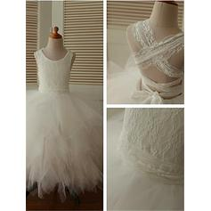 Ball Gown Scoop Neck Ankle-length With Lace Tulle Flower Girl Dresses (010211742)