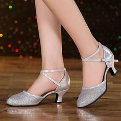 Vrouwen Ballroom Swing Hakken Sandalen Kunstleer Sprankelende Glitter Dansschoenen