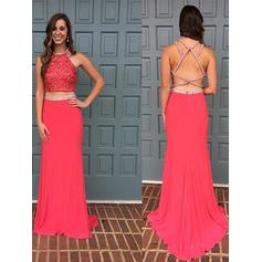 Beautiful Chiffon Evening Dresses Sheath/Column Sweep Train Halter Sleeveless (017212130)