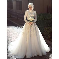Tulle A-Line/Princess Sweep Train Scoop Wedding Dresses Long Sleeves