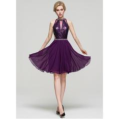 Tecido de seda Alças largas regulares Vestidos princesa/ Formato A Decote redondo Vestidos de boas vindas