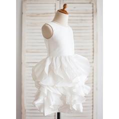 Robe Marquise Longueur genou Robes à Fleurs pour Filles - Taffeta Sans manches Col rond (010092612)