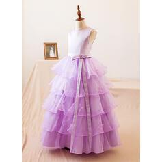 De baile Longos Vestidos de Menina das Flores - Organza de/Cetim Sem magas Decote redondo com Curvado (010104989)