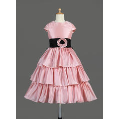 Magnificent Scoop Neck A-Line/Princess Taffeta Flower Girl Dresses (010014645)