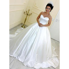 Gorgeous Royal Train Ball-Gown Wedding Dresses Sweetheart Satin Sleeveless