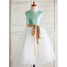 Forme Princesse Longueur mollet Robes à Fleurs pour Filles - Tulle/Pailleté Sans manches Col rond avec Ceintures (Bande détachable)