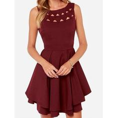 A-Line/Princess Scoop Neck Short/Mini Jersey Homecoming Dresses With Ruffle