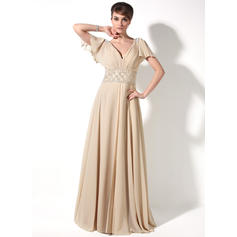 A-Line/Princess V-neck Chiffon Short Sleeves Floor-Length Beading Cascading Ruffles Mother of the Bride Dresses