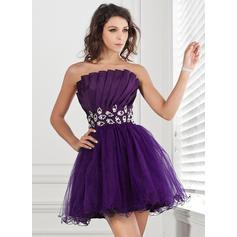 Gorgeous Taffeta Tulle Sleeveless Scalloped Neck Ruffle Beading Sequins Homecoming Dresses