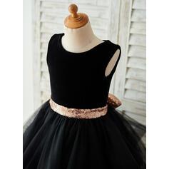 Forme Princesse Longueur genou Robes à Fleurs pour Filles - Tulle/Velours/Pailleté Sans manches Col rond avec Trou noir (010153239)