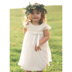 Tea-length Sleeveless Chiffon/Lace With Gorgeous Flower Girl Dresses (010210938)