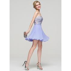 Mousseline Sans bretelle Forme Princesse Amoureux Robes de soirée étudiante (022214118)