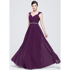 Modern Chiffon Evening Dresses A-Line/Princess Floor-Length V-neck Sleeveless