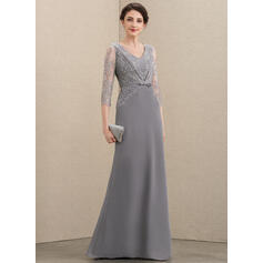 A-Line V-neck Floor-Length Chiffon Lace Mother of the Bride Dress With Bow(s) (008195410)
