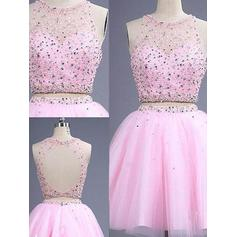 A-Line/Princess Scoop Neck Short/Mini Detachable Tulle Homecoming Dresses With Beading (022212391)