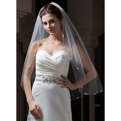 Fingertip Bridal Veils Tulle One-tier Oval With Beaded Edge Wedding Veils