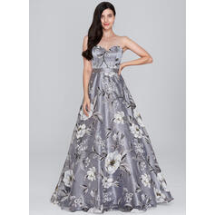 A-Line/Princess Sweetheart Floor-Length Organza Prom Dresses (018138852)