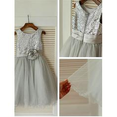 A-Line/Princess Scoop Neck Tea-length With Flower(s) Tulle/Sequined Flower Girl Dresses (010211849)